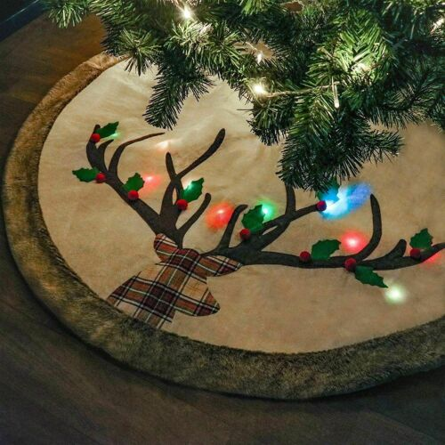 """Teresas Collection 48"""" Woodland Reindeer Christmas Tree Skirt Fur Trim LED Light"""