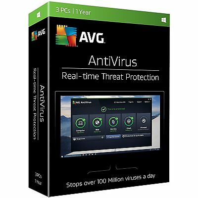 Avg Antivirus 2017  3 Pcs   1 Year   Sealed Retail Box  Brand New  Free Shipping