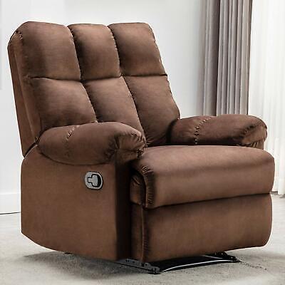 Overstuffed Velvet Recliner Chair Heavy Duty Home Theater LivingRoom Padded Sofa