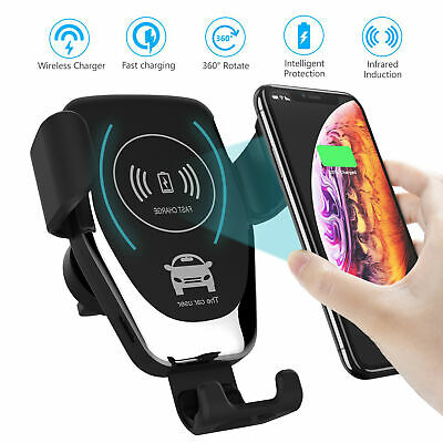 Qi Wireless Charger Car Phone Mount Holder Bracket For iPhone 8 X XS XR 11 Pro