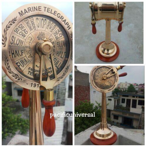 "Vintage Nautical Ships Brass Engine Telegraph Working Sounding Bells Brass 14"" ."