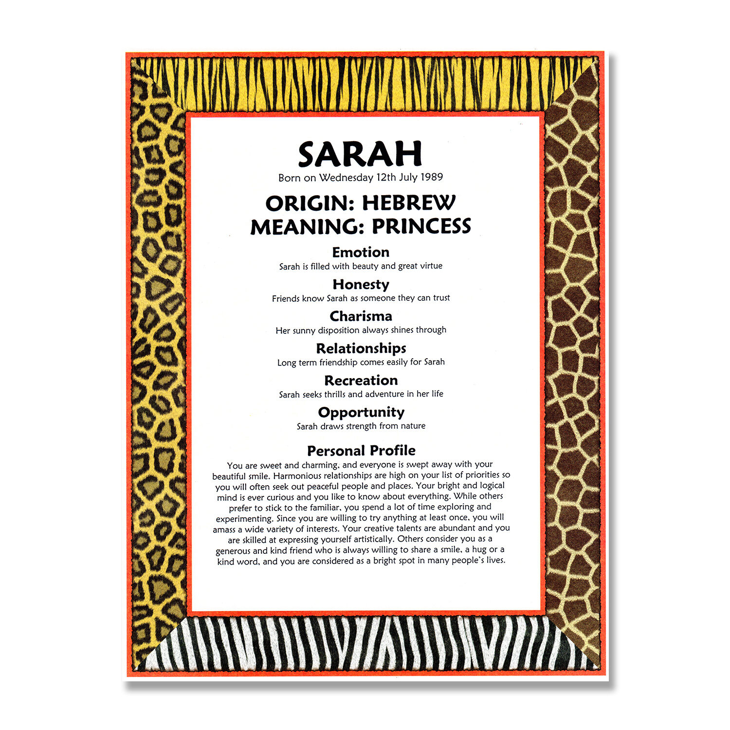 Details About Personalised Name Meaning Print