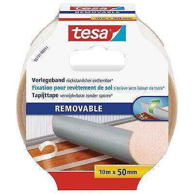 tesa Verlegeband, rückstandsfrei entfernbar, Teppichklebeband 10m:50mm