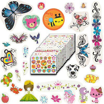 Temporary Tattoos for Kids Party, 360 Designs, 18 Sheets, 6x4 inches (Girls)