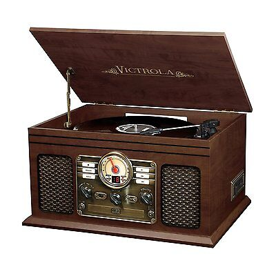 Victrola VTA-200B-ESP 6-In-1 Record Player With Bluetooth Turntable Espresso New