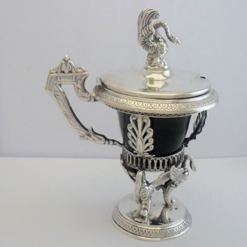 Silver mustard pot with swan supports, 19c Germany