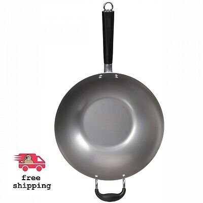 """Imusa 14"""" Traditional Natural Carbon Steel Wok With Bakelite Handle"""