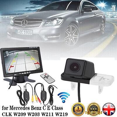 "7"" Monitor + Wireless Car Reversing Rear View Camera for Mercedes Benz C E Class"