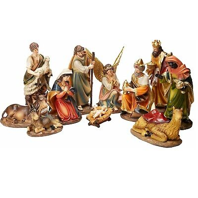 Faithful Treasure 12in tall 11pc Set of Large Christmas Nativity Scene Figurines