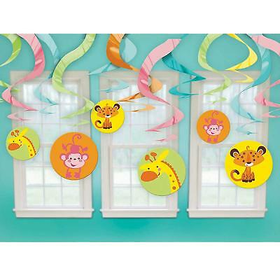 Fisher-Price Jungle Baby 12 Piece Hanging Dangling Swirl Decoration Set - 674416 - Fisher Price Jungle Baby Shower