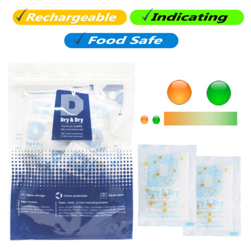 5 gram [50 Pack] Food Safe Orange Indicating Silica Gel Packets - Rechargeable