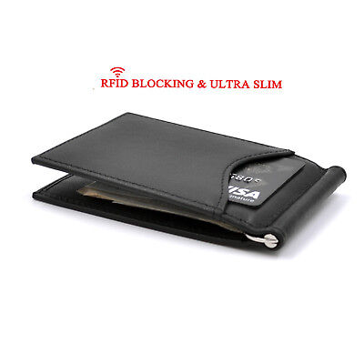FINAL SALE-Leather Money Clip,Slim Bifold Front Pocket RFID Blocking Thin Wallet