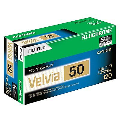 Fuji Fujichrome Velvia RVP 120mm 50 Color Slide Film ISO 50, 5 Rolls 16329185