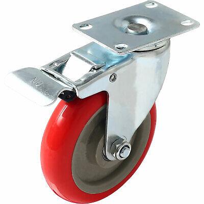 5 Inch Caster Wheels Swivel Plate Total Lock Brake On Red Polyurethane Pu