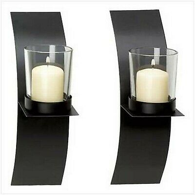 - Gifts & Decor Modern Art Candle Holder Wall Sconce Plaque, Set of 2