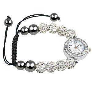 TRIXES Ladies 8 Ball Czech Crystal Shamballa Wrist Watch Bracelet Silver & White
