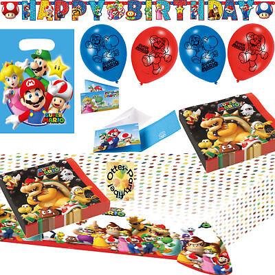 t 60tlg. Servietten Tischdecke Tüten Einladung Banner Luftba (Super Mario Geburtstag Banner)