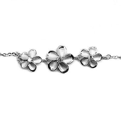 Anklets Silver Sparkle Stone Plumeria Hibiscus Flower Foot Chain Hawaii Hawaiian