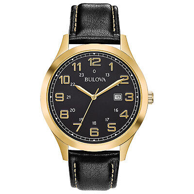 Bulova Men's Quartz Gold-Tone Case Black Leather Band 42mm Watch 97B181
