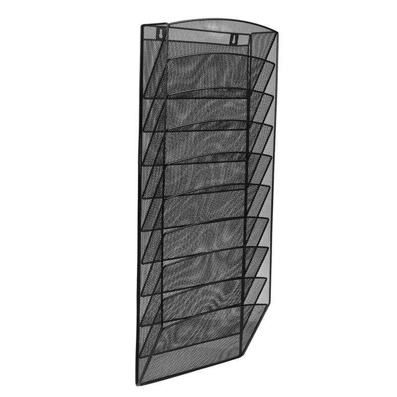 AdirOffice Black Steel Mesh Paper File Magazine Wall Rack 10 Pocket Storage