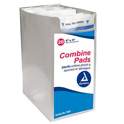 Dynarex 3501 Combine ABD Abdominal Pad Gauze Dressing Cut Sterile 5 X 9 In 20EA! Abd Combine Pad