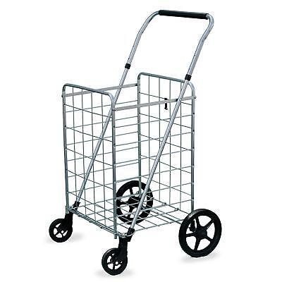 Metal Folding Utility Basket Cart 90lb Grocery Heavy Duty Hauling Swivel Wheel