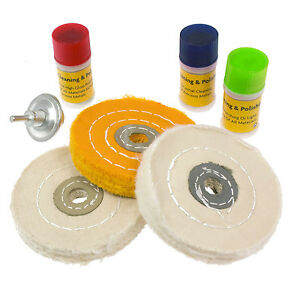 7PC METAL CLEANING & POLISHING BUFFING WHEEL KIT WITH COMPOUND BLOCKS FITS DRILL