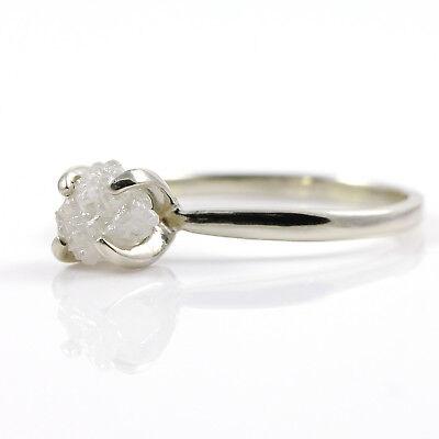 14K Gold Conflict Free Raw Diamond Ring - White Rough Uncut Diamond - SIZE 4-10