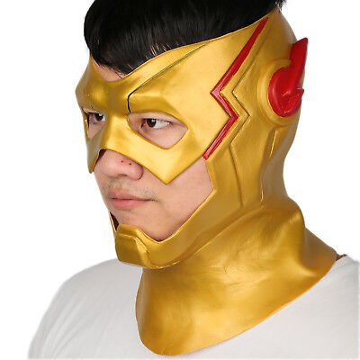 The Flash Mask Costume (Xcoser The Flash Cosplay Helmet Costume Props Mask Golden Hero Party)