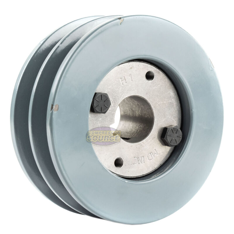 """B Section Dual Groove 2 Piece 4.5"""" Pulley w/ 1"""" Sheave Shiv Cast Iron 5L V Belt"""