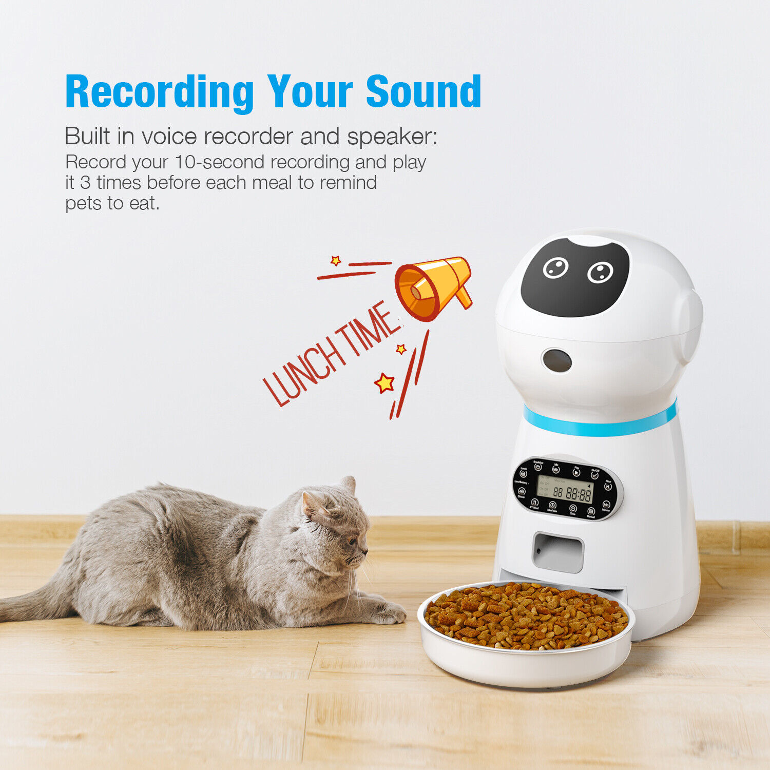 Automatic Pet Feeder Programmable Timer Voice Record Dog Cat Food Bowl Dispenser Ebay