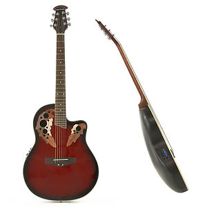 New Deluxe Round Back Electro Acoustic Guitar in Red by Gear4music