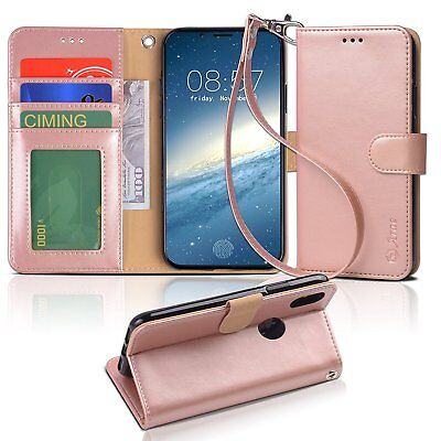 iPhone X Wallet Case PU Leather Kickstand Comedian Slots Protective Cover Rose Gold
