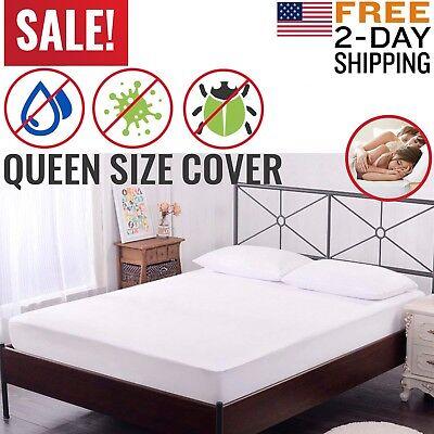 (Mattress Cover Protector Waterproof Pad Queen Size Bed Hypoallergenic Vinyl Free)