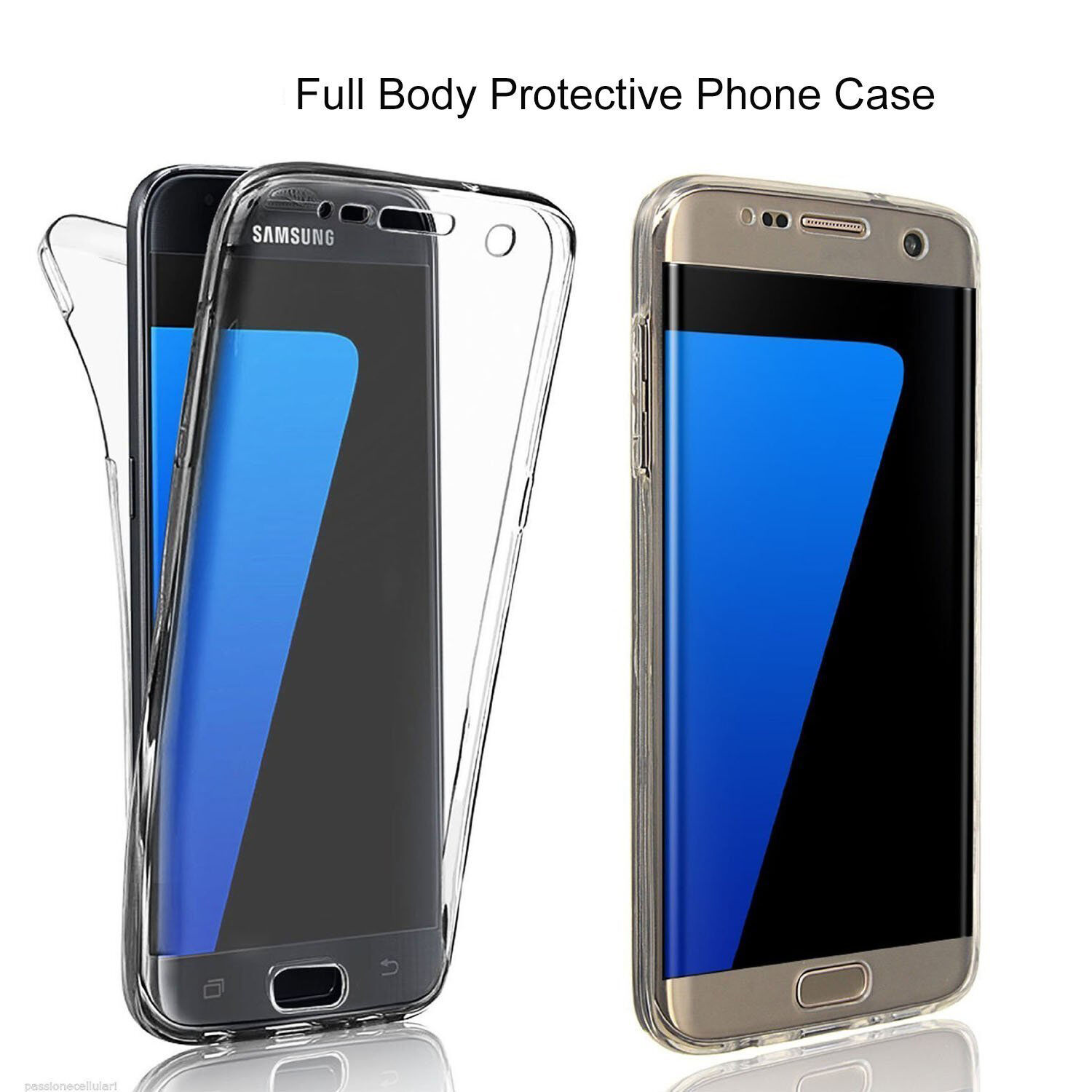 newest 86fd3 18a22 Details about Shockproof TPU 360° Protective Clear Case Cover For Samsung  Galaxy S7 / S7 Edge