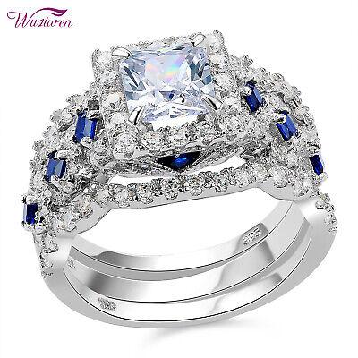 2.6Ct Princess Cz Blue Sapphire Sterling Silver Wedding Engagement Ring Set 5-12