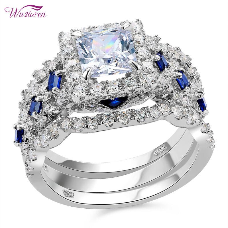 Wuziwen 2.6ct Princess Aaaa Cz Blue Sterling Silver Wedding Engagement Ring Sets