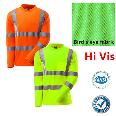 Hi Vis ANSI Class 3 Reflective Safety Work Long Sleeve T Shirts High Visibility