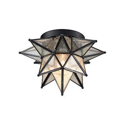 Moravian Star Ceiling Light Black Copper Glass Flush Mount 12-inch Foyer Light