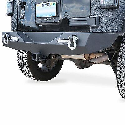 "Rock Crawler Full Width Rear Bumper w/2"" Hitch Receiver LED for Jeep Wrangler JK"