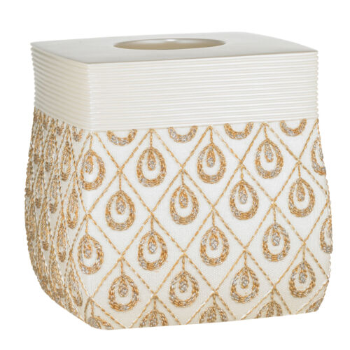 Bathroom Tissue Box Cover- Beige/Gold Popular Bath Seraphina Bath