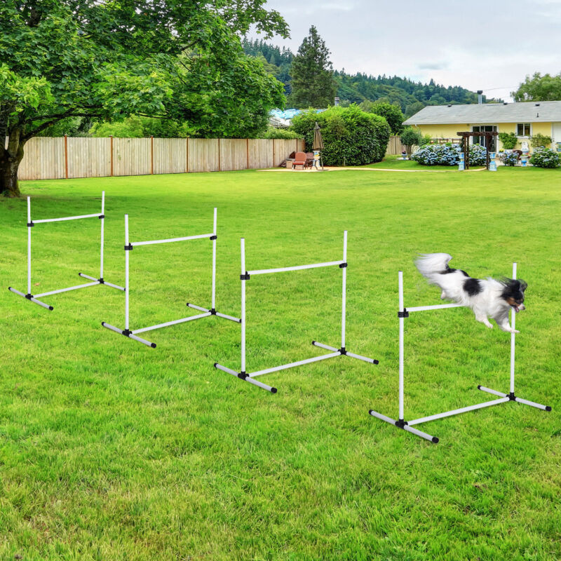 4PC Pet Dog Agility Jump Training Equipment Set Outdoor Game Adjustable Exercise