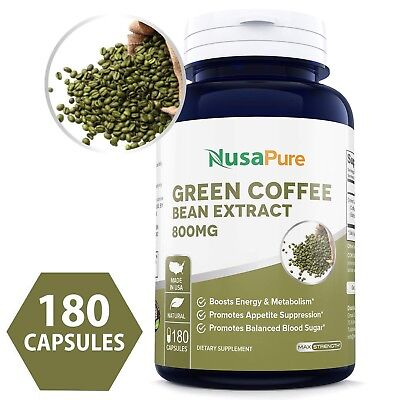 NusaPure Best Green Coffee Bean Extract 800mg 180caps (Non-GMO, Gluten