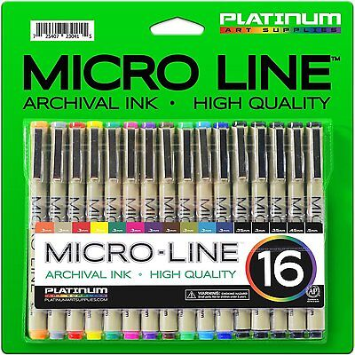 Micro-Line Ultra Fine Point Ink Pens - (SET OF 16) - Archival Ink FREE SHIPPING