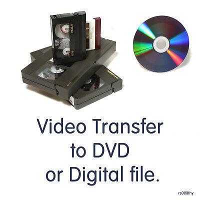 Transfer convert PAL SECAM Mini DV, Hi8, 8mm, VHS, VHS-C video tape to DVD