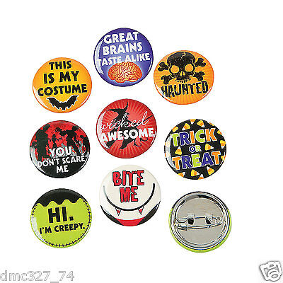24 HALLOWEEN Party Favors Fun Halloween SAYINGS Metal MINI BUTTONS Pins 1