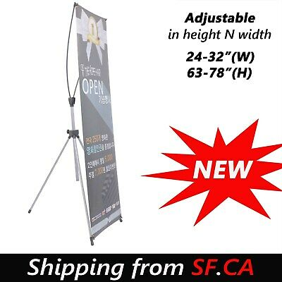 Premium Adjustable X Banner Stand Portable Oxford Bag 23x63 To 32x78