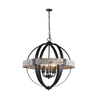 Y-Decor 6 Light Candle Style Chandelier in Black Finish