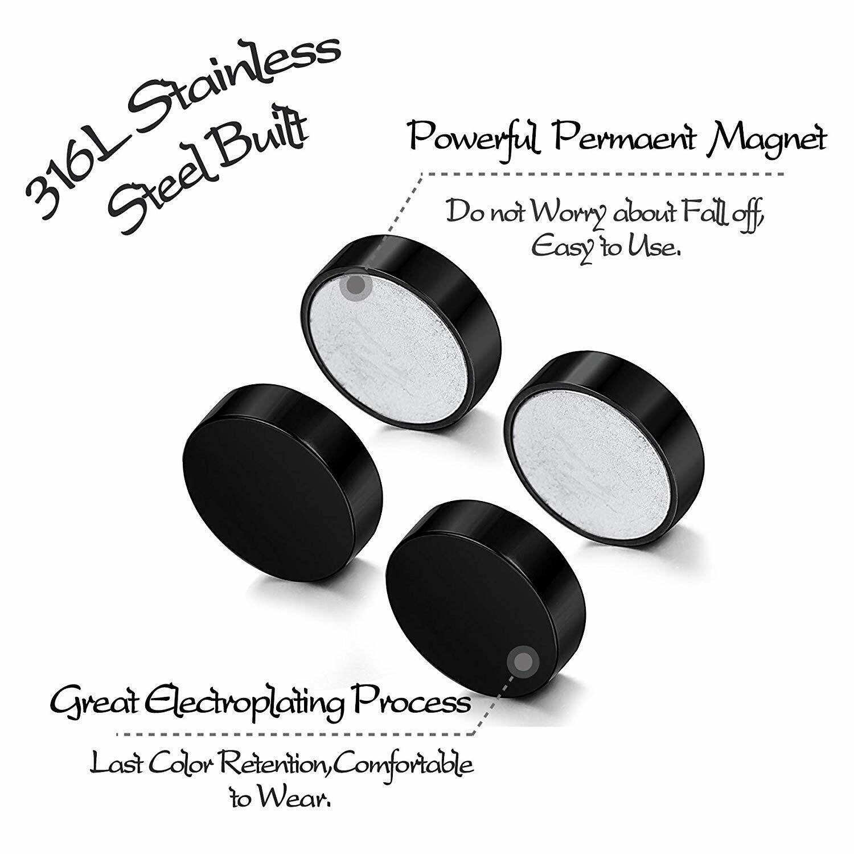 1 Pair Mens Women Non Piercing Ear Stud Clip On Round Magnetic Earrings Black US Earrings
