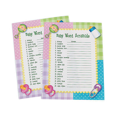 Word Scramble Game (24 Baby Shower Word Scramble Games Activity PARTY DECOR BOY GIRL PINK)